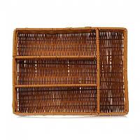 Корзина плетеная для столовых приборов прямоугольная 34х26х6 (4 отдела)