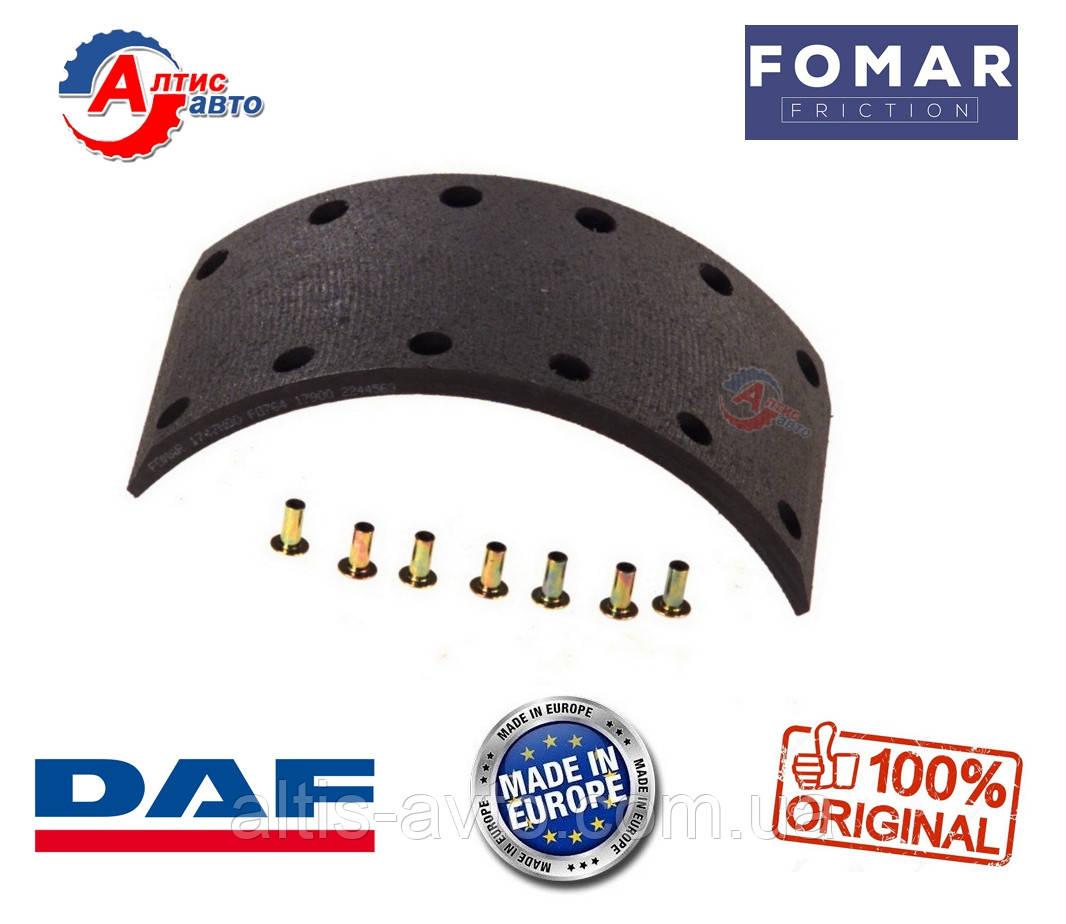Задний тормозные накладки DAF 45 стандартные с заклепками 12*325*147 WVA 17900, 17901 BB7848F8, AMPA343
