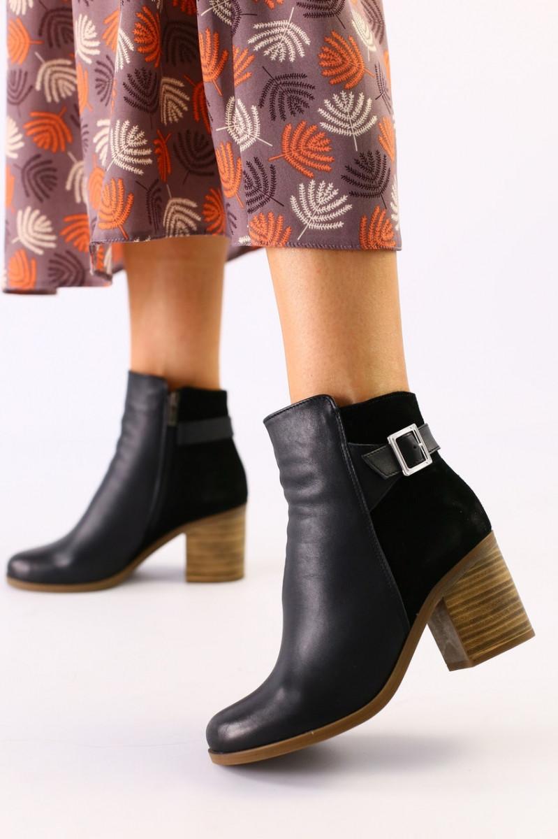 Женские черные ботинки кожа и велюр