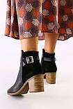 Женские черные ботинки кожа и велюр, фото 2