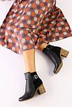 Женские черные ботинки кожа и велюр, фото 3