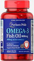 Омега-3 рыбий жир, Omega-3 Fish Oil, Puritan's Pride, 1000 мг, 300 мг активного, 100 капсул