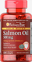 Жир лосося Omega-3 Salmon Oil 500 mg (105 mg Active Omega-3) - 100 софт