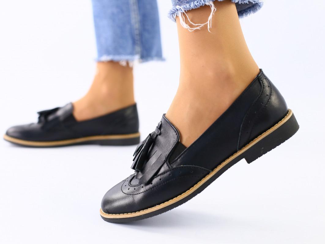 Женские черные кожаные туфли с кисточкой