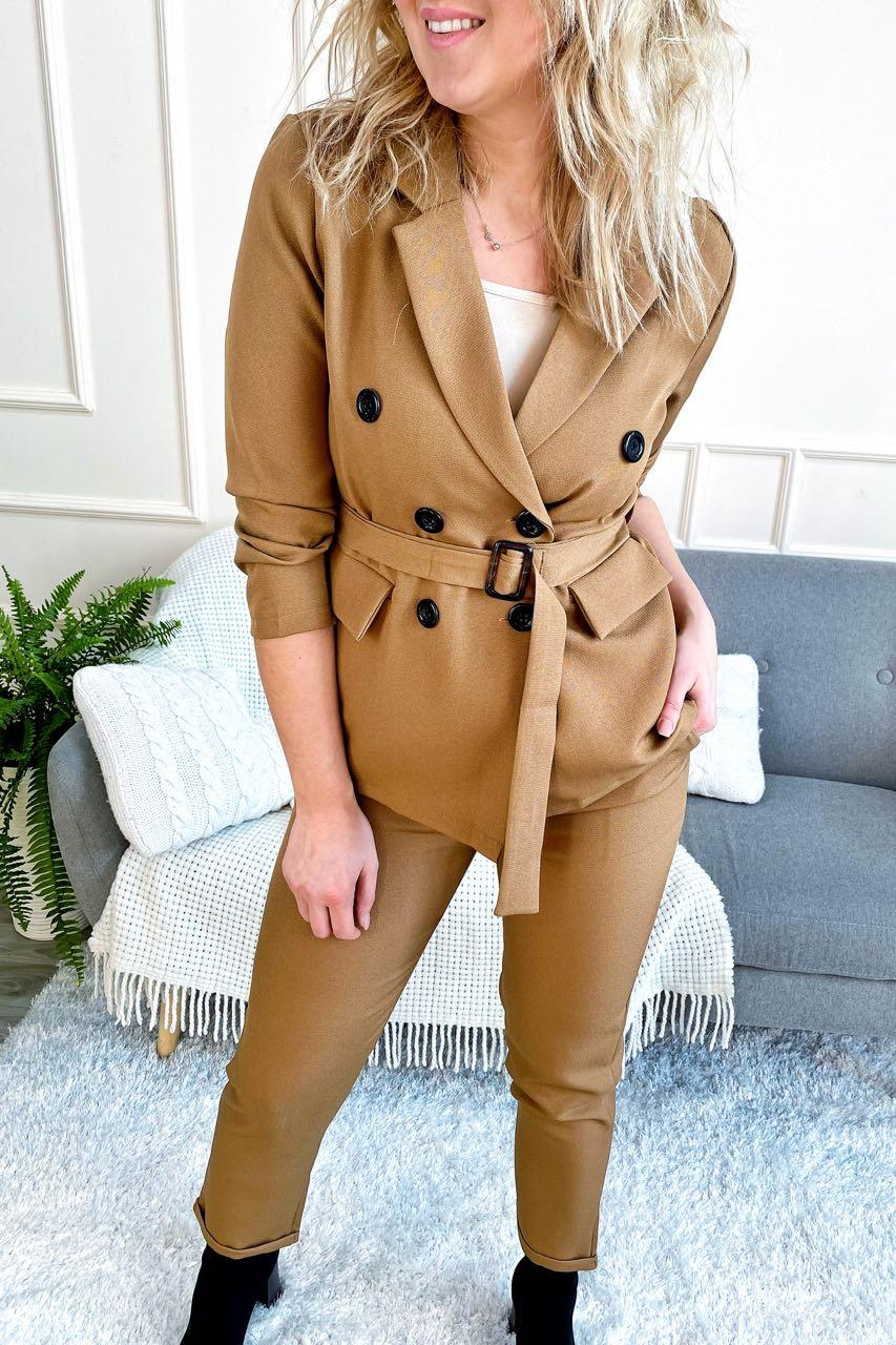 Костюм однотонный укороченные брюки пиджак с поясом ( 8991-1 )