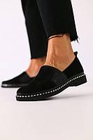 Женские туфли из черной замши