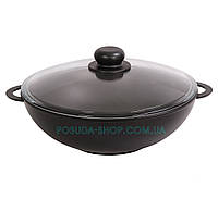 Сковорода Вок с крышкой и антипригарным покрытием Биол 30 см 3003ПС, фото 1