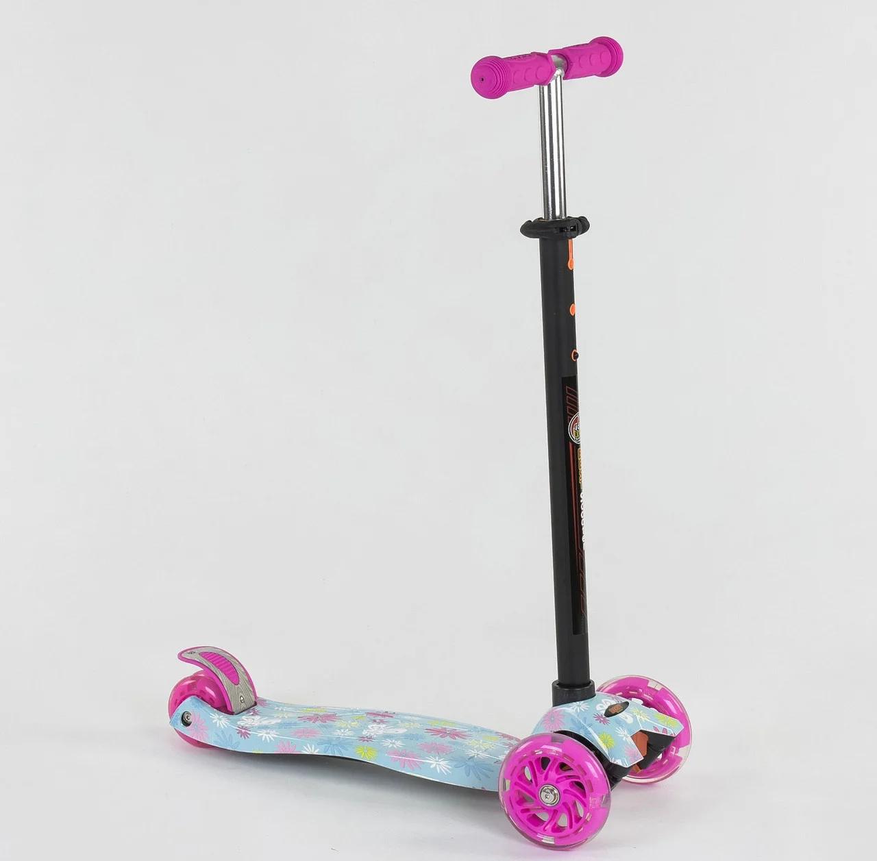 """Самокат А 25530/779-1328 MAXI """"Best Scooter"""" пластмассовый, 4 колеса PU,свет,трубка руля алюминиевая, d=12 см"""