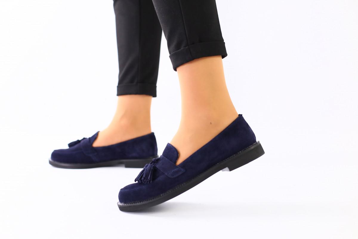 Женские замшевые туфли с кисточкой, синие