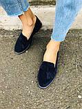 Женские замшевые туфли с кисточкой, синие, фото 4