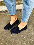 Женские замшевые туфли с кисточкой, синие, фото 5