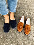 Женские замшевые туфли с кисточкой, синие, фото 6