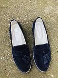 Женские замшевые туфли с кисточкой, синие, фото 7