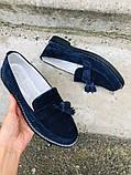 Женские замшевые туфли с кисточкой, синие, фото 8