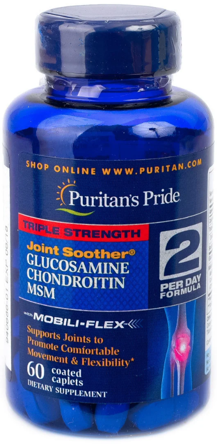 Для суставов и связок Triple Strength Glucosamine, Chondroitin & MSM Joint Soother® - 60 каплет