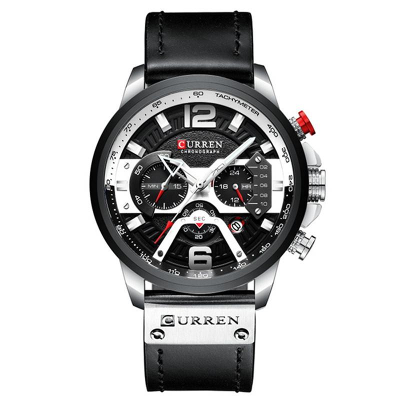 Мужские Часы Наручные Кварцевые Классические Curren (8329) 3 АТМ Черные с Черным Циферблатом