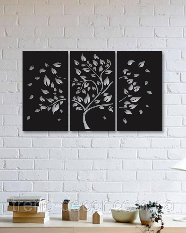 Декоративное металлическое панно c дизайном дерева осенью.