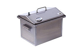 Коптильня для горячего копчения крышка Домиком с термометром 1,5 мм 400х300х310 h-02