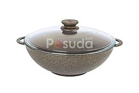 Сковорода Wok Біол Граніт браун антипригарна зі скляною кришкою 28 см 28033ПС