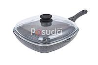 Сковорода-гриль Биол Гранит грей со стекляной крышкой 28 см 28144ПС, фото 1
