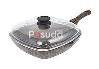 Сковорода-гриль Биол Гранит браун с крышкой 28 см 28143ПС, фото 1