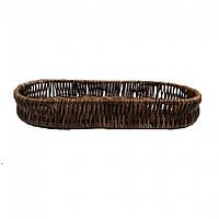 Корзина плетеная для столовых приборов овальная 26,5х12х4см (темная)