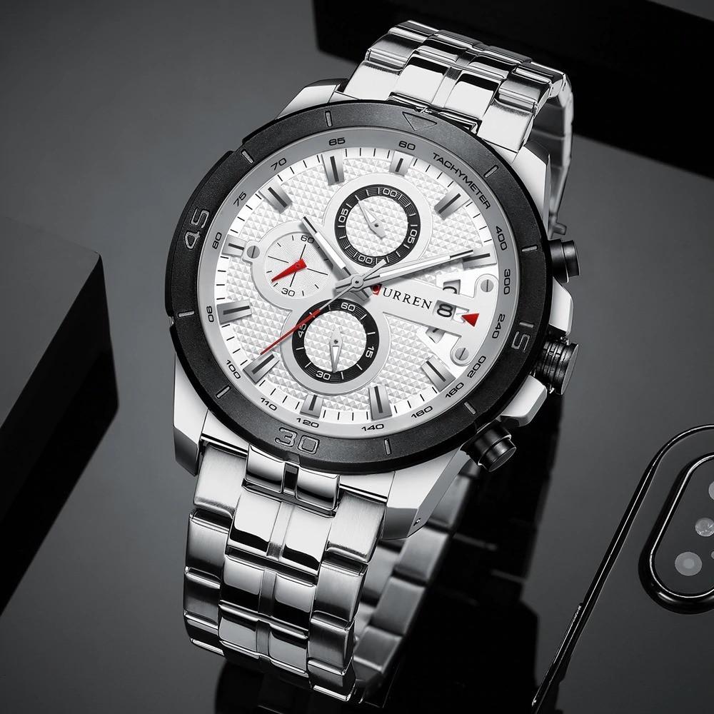 Мужские Часы Наручные Кварцевые Классические Curren (8337) 3 АТМ Серебряные с Белым Циферблатом