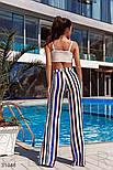 Бавовняні штани-кльош в смужку, фото 3