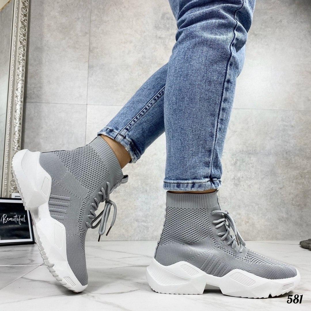 Кросівки жіночі сірі високі текстиль
