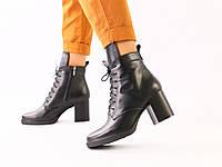Женские демисезонные кожаные черные ботинки на каблуке, фото 1