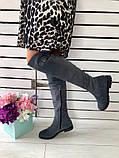 Демисезонные замшевые сапоги-ботфорты серые, фото 4