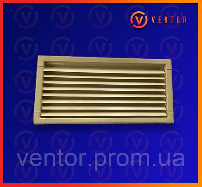 Вентиляционная металлическая решетка 200х440 мм, бежевая.