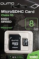 Карта памяти микро SDHC Qumo 8 гб класс 10 с адаптером