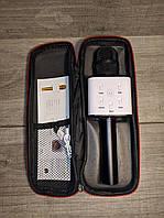 Беспроводной портативный Bluetooth микрофон-караоке с динамиками Q7 c чехолом в подарок чёрный