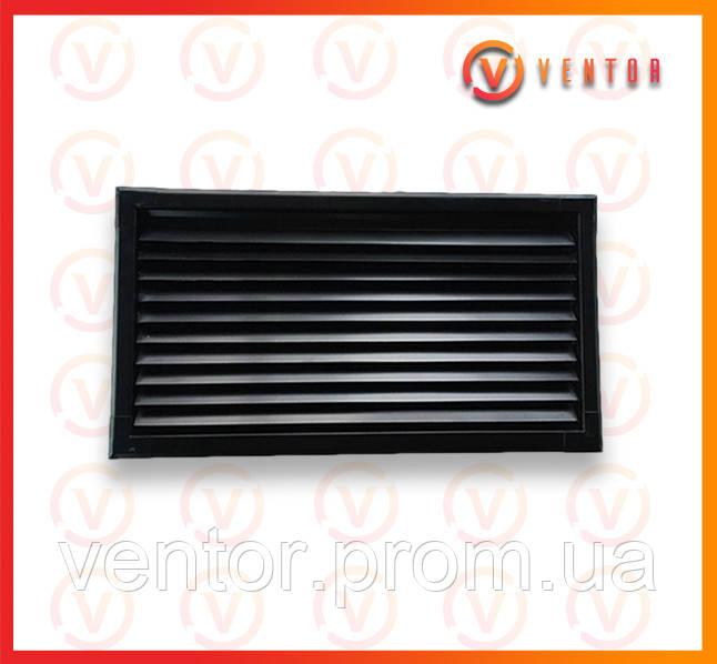 Вентиляционная металлическая решетка 200х440 мм, черная.