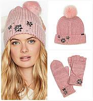 Комплект зимний Victorias Secret женская теплая зимняя шапка и варежки