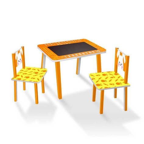 """Гр Столик МИНИ """"ЗАЙЧИК""""с меловой поверхностью + 2 стульчика, цвет оранжевый С 024 (1) 60*46 см., фото 2"""