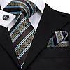 Набор подарочный: галстук, запонки, платок, в полоску коричнево-голубой GS885-1