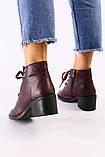 Женские бордовые кожаные ботинки, фото 2