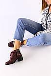 Женские бордовые кожаные ботинки, фото 3