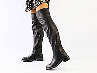 Женские кожаные черные сапоги-ботфорты