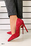 Лодочки женские замшевые красные, фото 3