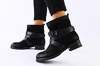 Женские демисезонные черные ботинки из нубука на каблуке, фото 1