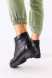 Женские демисезонные ботинки черные, кожа флотар, фото 2