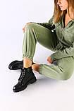 Женские демисезонные ботинки черные, кожа флотар, фото 3