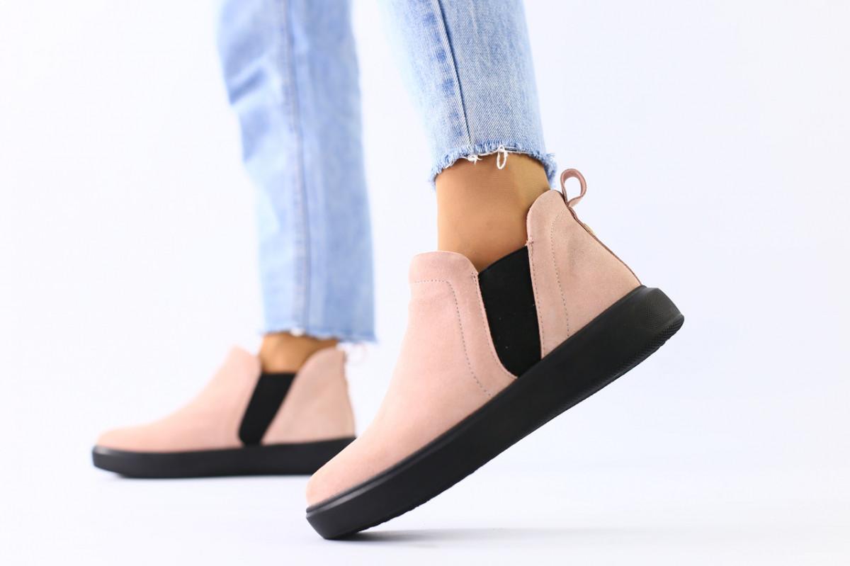Женские демисезонные ботинки из велюра без каблука, пудра