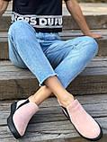 Женские демисезонные ботинки из велюра без каблука, пудра, фото 4