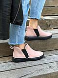 Женские демисезонные ботинки из велюра без каблука, пудра, фото 5