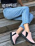 Женские демисезонные ботинки из велюра без каблука, пудра, фото 6