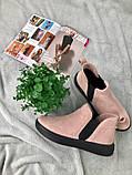 Женские демисезонные ботинки из велюра без каблука, пудра, фото 8
